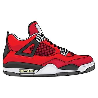 Homens de roupa de tênis vermelho