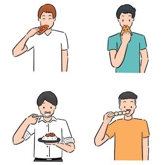 Homens de trabalho conjunto comer