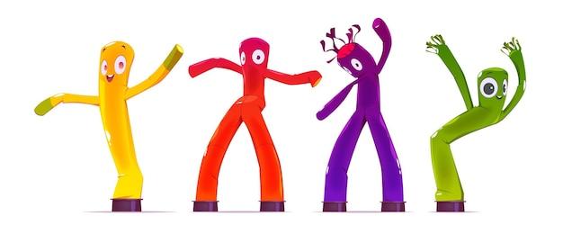 Homens de tubo inflável, dançando e acenando personagens publicitários de braço.