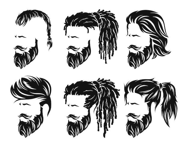 Homens definem penteados e corte de cabelo com bigode de barba no rosto.