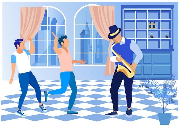 Homens descansando e dançando sob música de saxofone