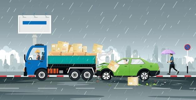 Homens dirigindo um acidente de carro bateram no caminhão enquanto a chuva caía.