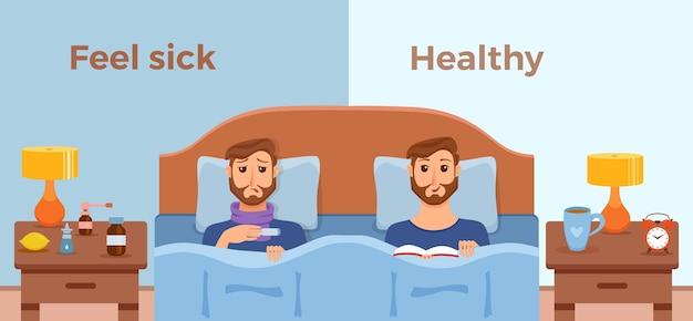 Homens doentes na cama com sintomas de resfriado, gripe e sentir-se bem, homem saudável com livro