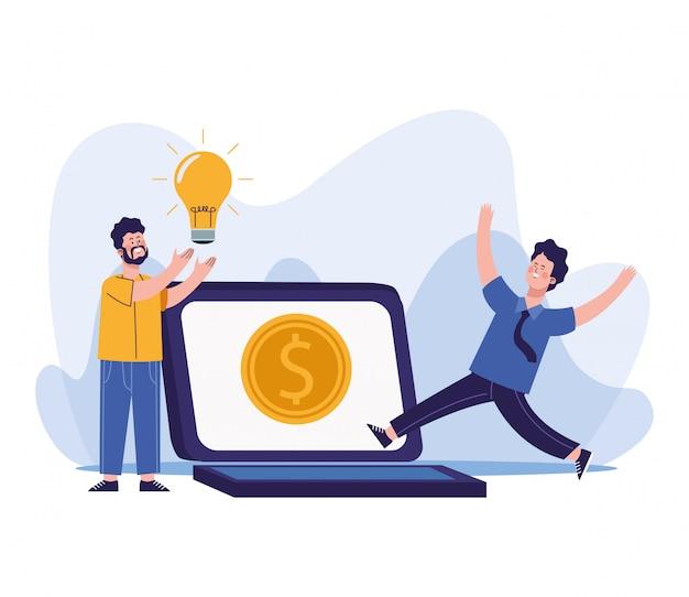 Homens dos desenhos animados com lâmpada e computador portátil com moedas de dinheiro