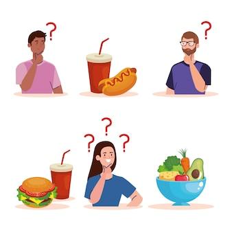 Homens e mulher pensando o que comer