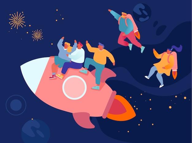 Homens e mulheres alegres voando no espaço