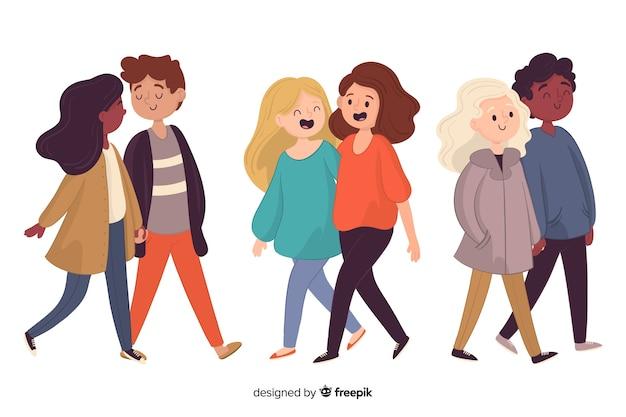 Homens e mulheres andando conjunto