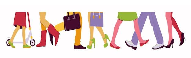 Homens e mulheres caminham no meio da multidão ilustração da metade inferior do corpo com pernas e sapatos