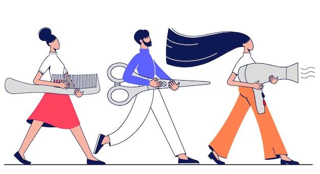 Homens e mulheres carregam tesouras de ferramentas de cabeleireiro, secador de cabelo e pente.