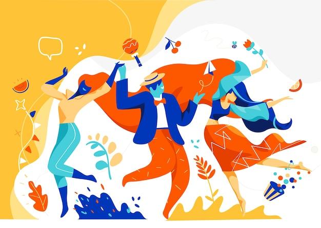 Homens e mulheres celebram e dançam juntos