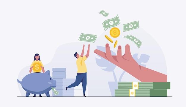 Homens e mulheres colocam moedas e notas de dólar dobradas em um cofrinho para economizar dinheiro.