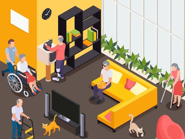 Homens e mulheres com deficiência assistindo tv descansando acariciando gatos em casa de repouso 3d isométrico