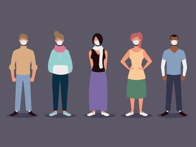 Homens e mulheres com máscaras, ilustração de proteção contra surto de coronavírus
