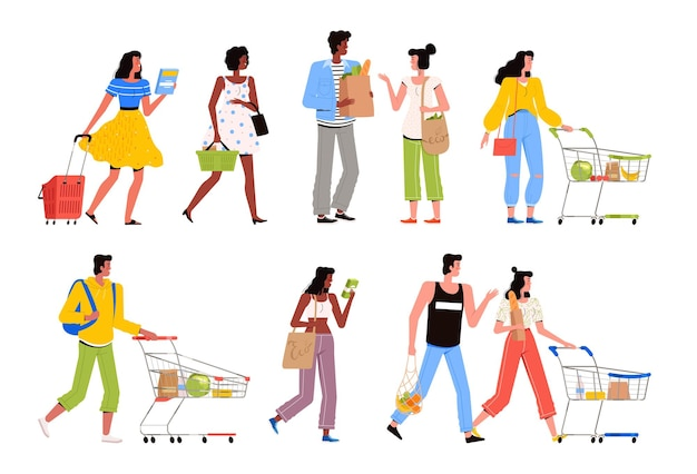 Homens e mulheres com sacolas e pacotes em um supermercado