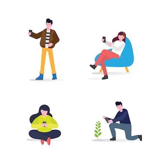 Homens e mulheres com smartphone. planta crescente, atividades em casa