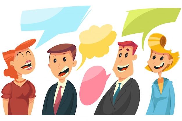 Homens e mulheres com uma bolha do discurso.