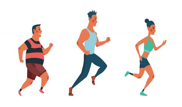 Homens e mulheres correndo maratona. grupo de pessoas vestidas com roupas esportivas. participantes do evento de atletismo tentando fugir um do outro