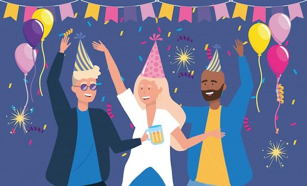 Homens e mulheres dançando com decoração de confete