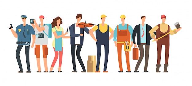 Homens e mulheres de diferentes profissões. grupo de pessoas profissionais. caráter de especialista em desenho animado e funcionário isolado