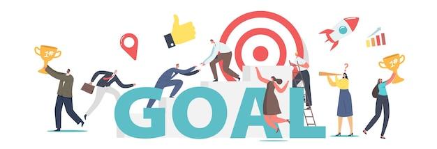 Homens e mulheres de empresários alcançam o conceito de destino. rotina de escritório de personagens, aumento de carreira de trabalhadores, projeto de inicialização. pessoas de negócios alcançam a meta de cartaz, banner ou folheto. ilustração em vetor de desenho animado