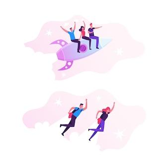 Homens e mulheres de negócios alegres voando com jet packs nas costas. ilustração plana dos desenhos animados