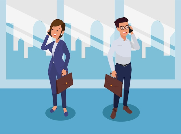 Homens e mulheres de negócios usam smartphones para se comunicarem sobre negócios