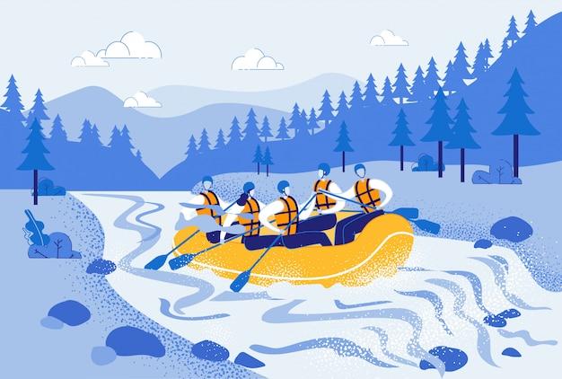 Homens e mulheres de rafting no barco inflável