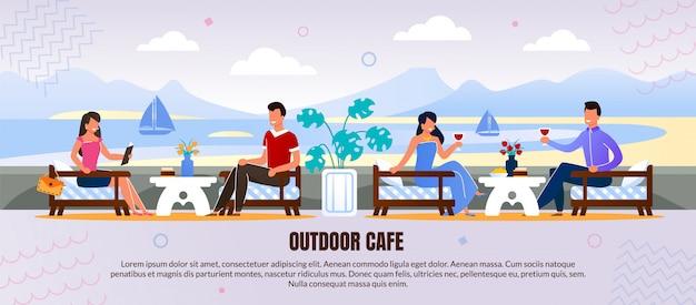 Homens e mulheres descansam no café ao ar livre anúncio flat banner