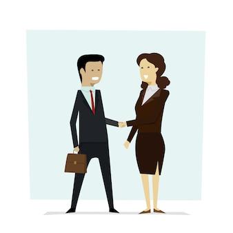 Homens e mulheres dos empresários que agitam os sócios das mãos.