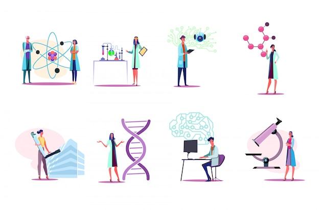 Homens e mulheres em jalecos brancos, trabalhando em conjunto de laboratório