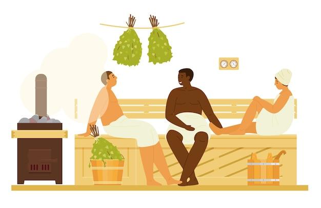 Homens e mulheres em toalhas na sauna ou banya com vapor relaxante. banco de madeira para casa de banho interior, vassouras de bétula, fogão a lenha, baldes, termómetro, óleos essenciais. ilustração plana.