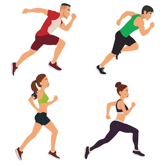 Homens e mulheres estão correndo.