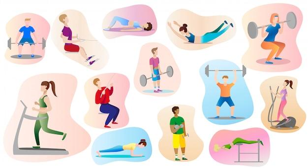 Homens e mulheres estão envolvidos no levantamento de peso no ginásio.