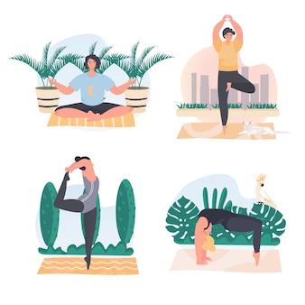 Homens e mulheres fazendo cenas de conceito de ioga definem ilustração vetorial de personagens