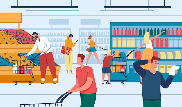 Homens e mulheres fazendo compras no supermercado