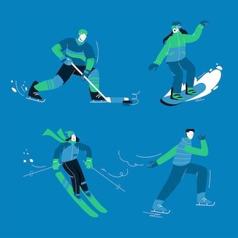 Homens e mulheres fazendo esportes de inverno diferentes