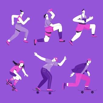 Homens e mulheres fazendo esportes diferentes