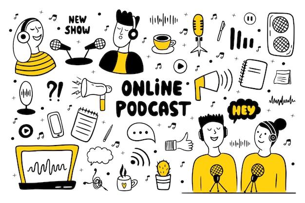 Homens e mulheres fazendo podcast.