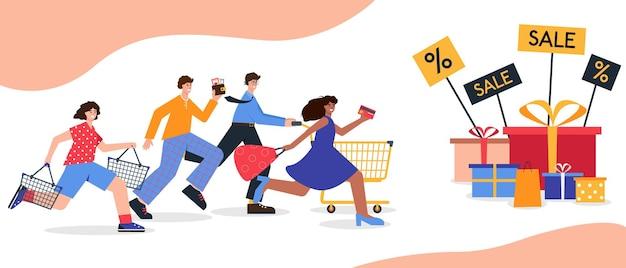 Homens e mulheres felizes correndo em busca de promoções e descontos na black friday shopping grande desconto