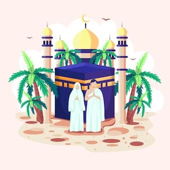 Homens e mulheres islâmicos estão diante de uma mesquita. a cúpula da mesquita e a lua crescente refletem lindamente.