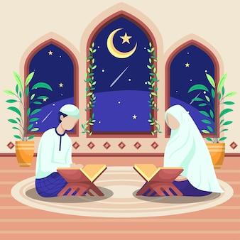 Homens e mulheres islâmicos sentam-se e recitam o alcorão dentro da mesquita. do lado de fora da janela da mesquita havia uma lua crescente e estrelas.