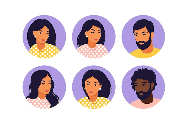 Homens e mulheres jovens de avatar em estilo simples.