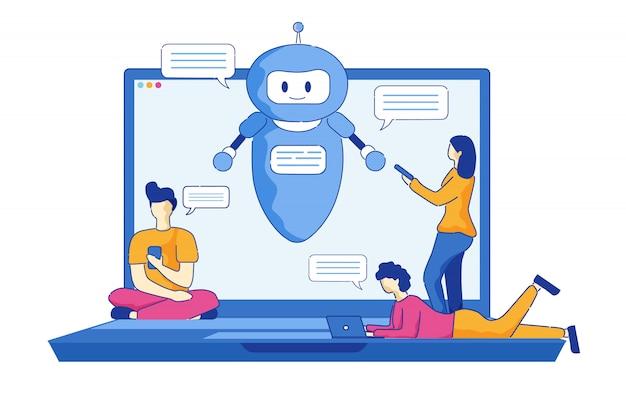 Homens e mulheres jovens escrevem mensagens usando o chatbot.