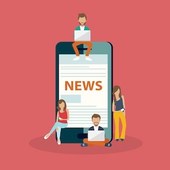Homens e mulheres jovens usando telefones inteligentes para ler notícias
