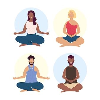 Homens e mulheres meditando