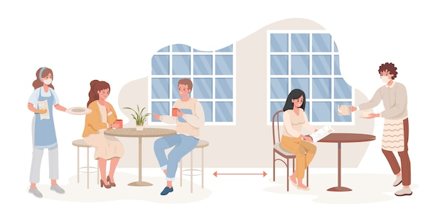 Homens e mulheres no café ou restaurante após ilustração plana de surto de coronavirus.