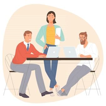 Homens e mulheres participando de reunião de negócios