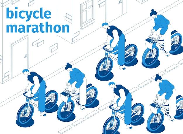 Homens e mulheres participando de uma maratona de bicicleta andando pela rua isométrica azul e branca