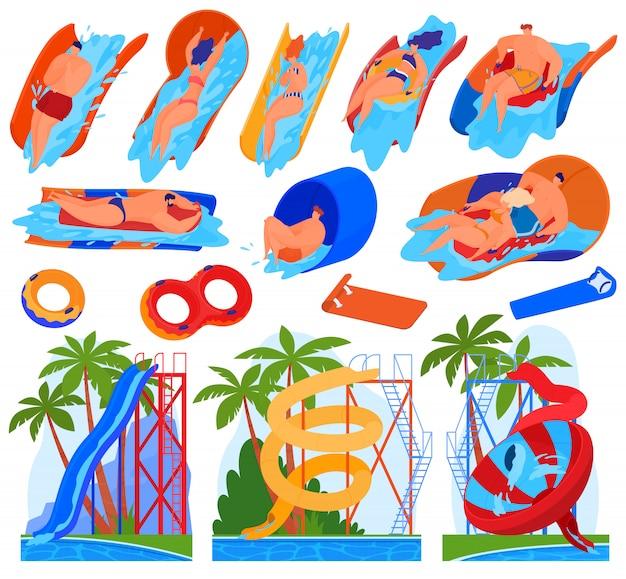 Homens e mulheres pedalam em toboáguas e atrações aquáticas