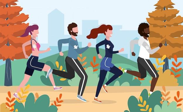Homens e mulheres praticam atividade de exercício e corrida